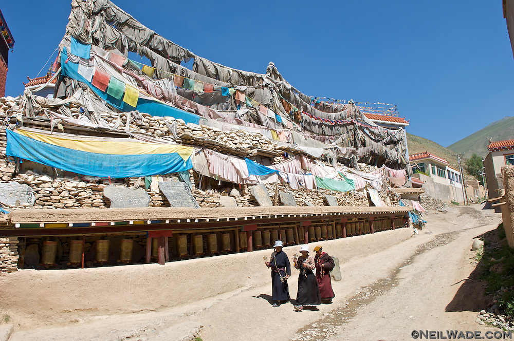 This is another mani stone pile at a different temple in the center of Yushu, Tibet.