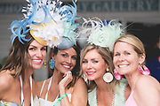 May 4, 2019: 145th Kentucky Derby at Churchill Downs. Race goers in Derby hats and dress