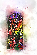 Digitally enhanced image of a stained glass window in the Church of the Primacy of St Peter. Israel, Sea of Galilee, Tabgha. The Stained Glass Window is by Angelo Montagna