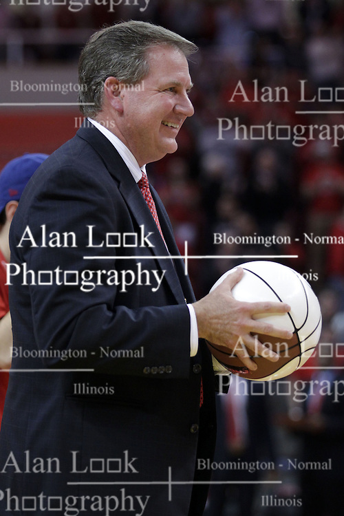 22 February 2017:  Larry Lyons gets set to present a trophy ball to Dan Muller for his 100th win as the Redbirds coach during a College MVC (Missouri Valley conference) mens basketball game between the Southern Illinois Salukis and Illinois State Redbirds in  Redbird Arena, Normal IL