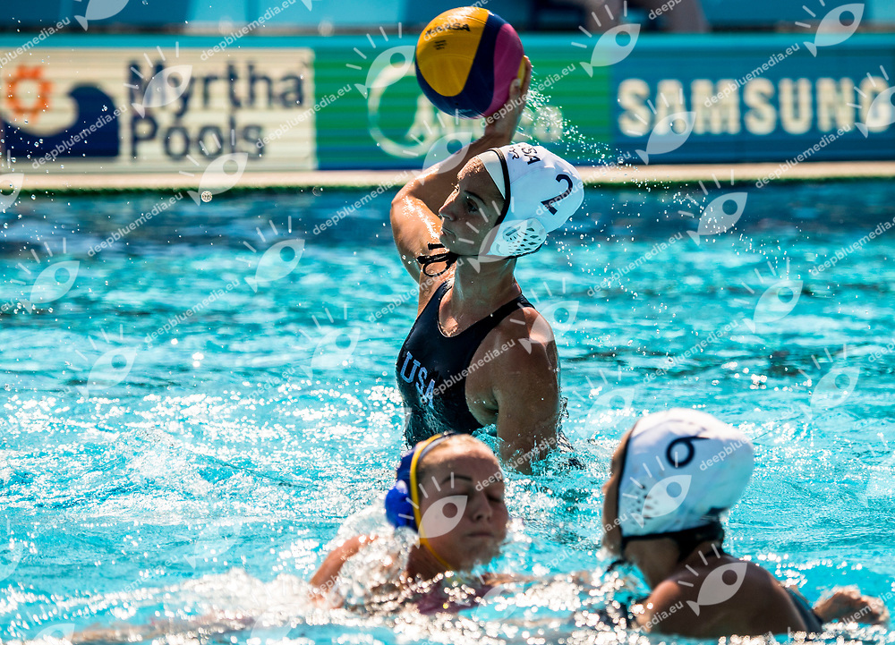 2 MUSSELMAN Madeline USA <br /> USA (white cap) -  ESP (blue cap)<br /> Preliminary Round Water Polo Women<br /> Day05  18/07/2017 <br /> XVII FINA World Championships Aquatics<br /> Alfred Hajos Complex Margaret Island  <br /> Budapest Hungary <br /> Photo @ Deepbluemedia/Insidefoto