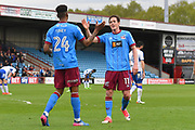 Scunthorpe United forward Ivan Toney (24) celebrates scoring his second  goal with Scunthorpe United midfielder Josh Morris (11)  to go 3-0 during the EFL Sky Bet League 1 match between Scunthorpe United and Chesterfield at Glanford Park, Scunthorpe, England on 17 April 2017. Photo by Ian Lyall.