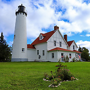 &quot;Point Iroquois Gardens&quot;<br /> <br /> The beautiful historic Point Iroquois Light Station and part of the gardens.<br /> <br /> Lighthouses of the Great Lakes by Rachel Cohen