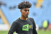 """Coventry City goalkeeper Corey Addai (33) wearing a """"Kick it out""""  T Shirt during the EFL Sky Bet League 1 match between Coventry City and Bristol Rovers at the Ricoh Arena, Coventry, England on 7 April 2019."""