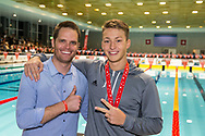 Olympic finalist and retired SCUW swimmer Dominik MEICHTRY (L) poses for a photo  with SCUW's 2nd placed Antonio DJAKOVIC of Switzerland after the medal ceremony for the men's 200m Freestyle Final during the Swiss Short Course Swimming Championships in Uster, Switzerland, Saturday, Nov. 25, 2017. (Photo by Patrick B. Kraemer / MAGICPBK)