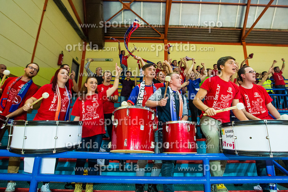 during basketball match between KK Krka Novo mesto and KK Tajfun Sentjur at Superpokal 2015, on September 26, 2015 in SKofja Loka, Poden Sports hall, Slovenia. Photo by Grega Valancic / Sportida.com