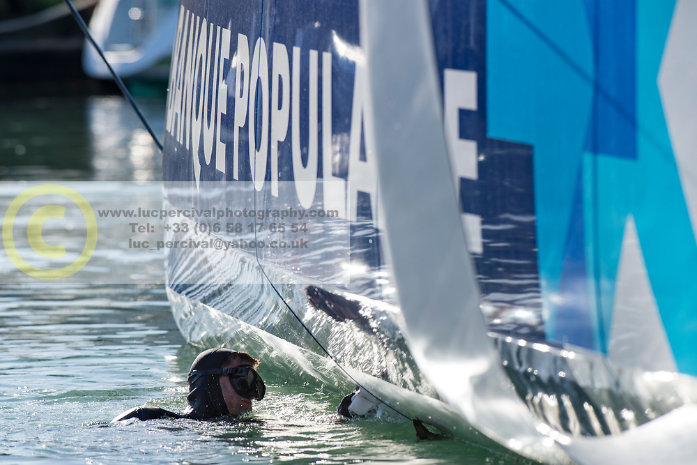 Behind the scenes on the pontoon the day before the start of the 2016 Vendee Globe