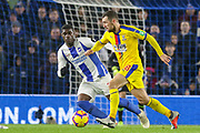 Crystal Palace #18 James McArthur battles with Brighton and Hove Albion midfielder Yves Bissouma (8) during the Premier League match between Brighton and Hove Albion and Crystal Palace at the American Express Community Stadium, Brighton and Hove, England on 4 December 2018.