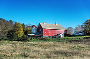 Charming red barn, Woodstock, Vermont, USA.