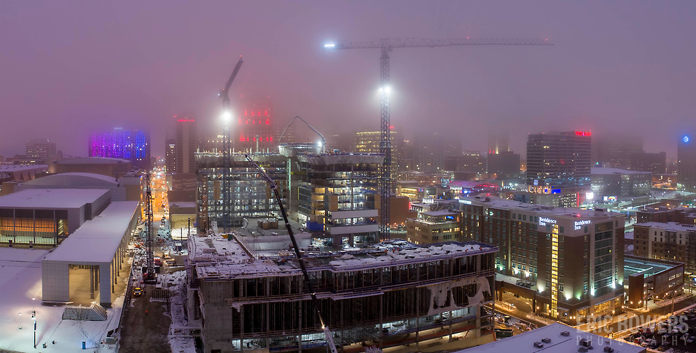 Loews Hotel under construction in downtown Kansas City, Missouri, January 2019.