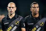 WAALWIJK, RKC Waalwijk - NAC Breda, voetbal Eredivisie, seizoen 2013-2014, 01-11-2013, Mandemakers Stadion, teleurstelling bij NAC Breda speler Anthony Lurling (L) en NAC Breda speler Anouar Hadouir (R).