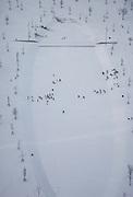 Nederland, Amsterdam, IJburg, 07-01-2010; Harbor Island in the snow, children playing during playtime between the bare trees of the park. Winter scene. Newly build residential area IJburg, build on artificial islands. <br /> Haveneiland in de sneeuw, .spelende kinderen tijdens speelkwartier tussen kale bomen van het Pampuspark. Winter tafereel.<br /> luchtfoto (toeslag op standaard tarieven);<br /> aerial photo (additional fee required);<br /> copyright foto/photo Siebe Swart.