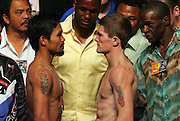 Weigh in for the Light Welterweight title fight between Ricky Hatton and Manny Pacquiao at the MGM Grand, Las Vegas, 1st May 2009.