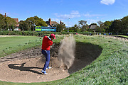 Isaiah Salinda (USA) plays from a bunker on the second hole during the Saturday Singles in the Walker Cup at the Royal Liverpool Golf Club, Saturday, Sept 7, 2019, in Hoylake, United Kingdom. (Steve Flynn/Image of Sport)