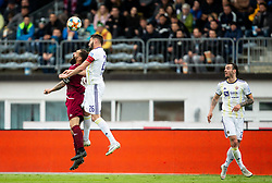 Aleš Mertelj of Triglav vs Aleksander Rajčević of Maribor during Football match between NK Triglav and NK Maribor in 25th Round of Prva liga Telekom Slovenije 2018/19, on April 6, 2019, in Sports centre Kranj, Slovenia. Photo by Vid Ponikvar / Sportida
