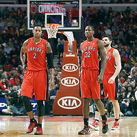 24 March 2012: Toronto Raptors small forward James Johnson (2), Toronto Raptors power forward Ed Davis (32) and Toronto Raptors small forward Linas Kleiza (11) are seen during the Chicago Bulls 102-101 victory in overtime over the Toronto Raptors at the United Center, Chicago, Illinois, USA.
