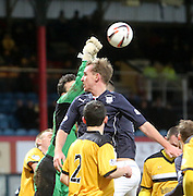 Dumbarton keeper Jamie Ewings punches clear from Dundee's Gary Irvine  - Dundee v Dumbarton, SPFL Championship at Dens Park<br /> <br />  - &copy; David Young - www.davidyoungphoto.co.uk - email: davidyoungphoto@gmail.com