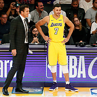 10 October 2017: Los Angeles Lakers head coach Luke Walton talks to Los Angeles Lakers forward Larry Nance Jr. (7) during the Utah Jazz 105-99 victory over the LA Lakers, at the Staples Center, Los Angeles, California, USA.