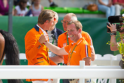 Jeroen Dubbeldam, Rob Ehrens, Gerco Schroder (NED) - Show Jumping Final Four - Alltech FEI World Equestrian Games™ 2014 - Normandy, France.<br /> © Hippo Foto Team - Leanjo de Koster<br /> 07-09-14