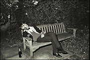 Member of the Bullingdon club asleep during the Christchurch May Ball, Oxford. 1981.