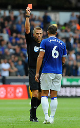 Phil Jagielka of Everton ia shows a straight red for his tackle on Diogo Jota of Wolverhampton Wanderers - Mandatory by-line: Nizaam Jones/JMP - 11/08/2018/ - FOOTBALL -Molineux  - Wolverhampton, England - Wolverhampton Wanderers v Everton - Premier League