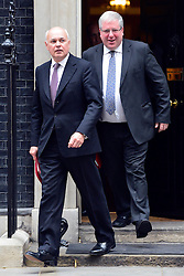 © Licensed to London News Pictures. 11/06/2013. westminster, UK. Iain Duncan Smith, Conservative MP, Secretary of State for Work and Pensions (left) and Patrick McLoughlin, Conservative MP, Secretary of State for Transport.  Ministers on Downing Street today 11th June 2013. Photo credit : Stephen Simpson/LNP