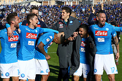 January 21, 2018 - Bergamo, Italy - Dries Mertens, Jorginho Allan Loudeiro, Rafael Cabral, Lorenzo Insigne and Marek Hamsik of Napoli celebrate the victory at the end of the serie A match between Atalanta BC and SSC Napoli at Stadio Atleti Azzurri d'Italia on January 21, 2018 in Bergamo, Italy. (Credit Image: © Matteo Ciambelli/NurPhoto via ZUMA Press)