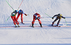 13.01.2018, Idre Fjall, Idre, SWE, FIS Weltcup Ski Cross, Idre Fjall, im Bild Men foinal from left: Marc Bischofsberger, Romain Detraz, Alex Fiva and Jean Frederic Chapuis // during the FIS Ski Cross World Cup at the Idre Fjall in Idre, Sweden on 2018/01/13. EXPA Pictures © 2018, PhotoCredit: EXPA/ Nisse Schmidt<br /> <br /> *****ATTENTION - OUT of SWE*****