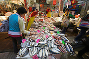 Wanchai. The Market. Seafood vendors.