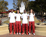 Oct 5, 2016; Los Angeles, CA, USA; Southern California Trojans track team captains (from left) Eric Sloan and Cameron Pettigrew and Ricky Morgan and Amalie Iuel pose during portrait session.