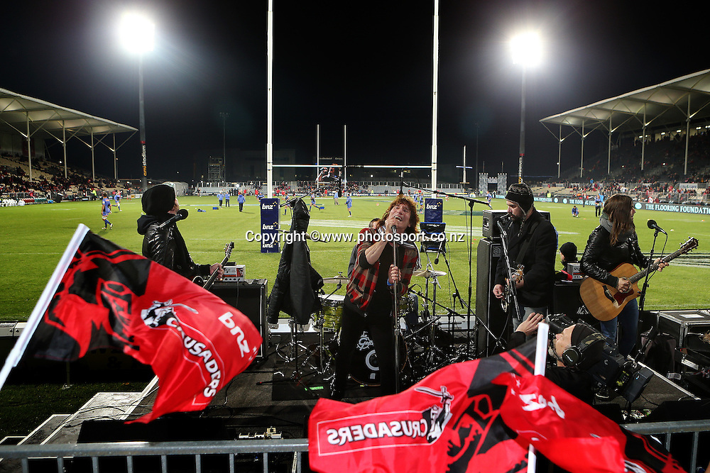 The Jordan Luck Band perform prematch before the Investec Super Rugby game, Crusaders v Western Force at AMI Stadium, Christchurch. 30 May 2014 Photo: Joseph Johnson/www.photosport.co.nz