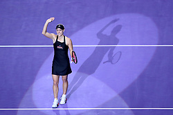 October 24, 2018 - Singapore - Angelique Kerber of Germany waves to the crowd after her win during the match between Angelique Kerber and Naomi Osaka on day 4 of the WTA Finals at the Singapore Indoor Stadium. (Credit Image: © Paul Miller/ZUMA Wire)