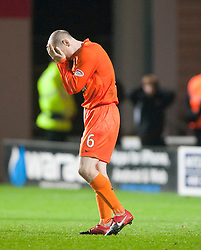 Dundee utd's Willo Flood after missing his penalty..Falkirk win on penalties. Dundee Utd 2 v 2 Falkirk. Scottish Communities League Cup, 25/10/2011..Pic © Michael Schofield.