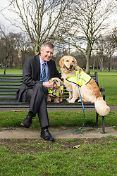 Pictured: After a good walk; a nice rest; Willie Rennie withMercy (Llasa Apso) and Mack (golden retriever) a<br /> <br /> The Scottish Liberal Democrat leader Willie Rennie highlighted analysis revealing the number of working days lost across Scotland due to depression as he met therapy animals from Canine Concern Scotland, a charity which supports people with mental health issues and other conditions. <br /> <br /> Ger Harley | EEm 31 March 2016