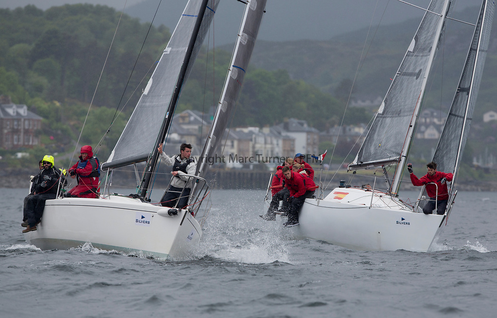 Silvers Marine Scottish Series 2017<br /> Tarbert Loch Fyne - Sailing<br /> <br /> GBR8538R, Jack, Mr Peter Doig, East Antrim Boat Club, J92 and GBR6521, Trastada, Roddy Angus/D Challis, FYC, Half Tonner<br /> <br /> Credit: Marc Turner / CCC