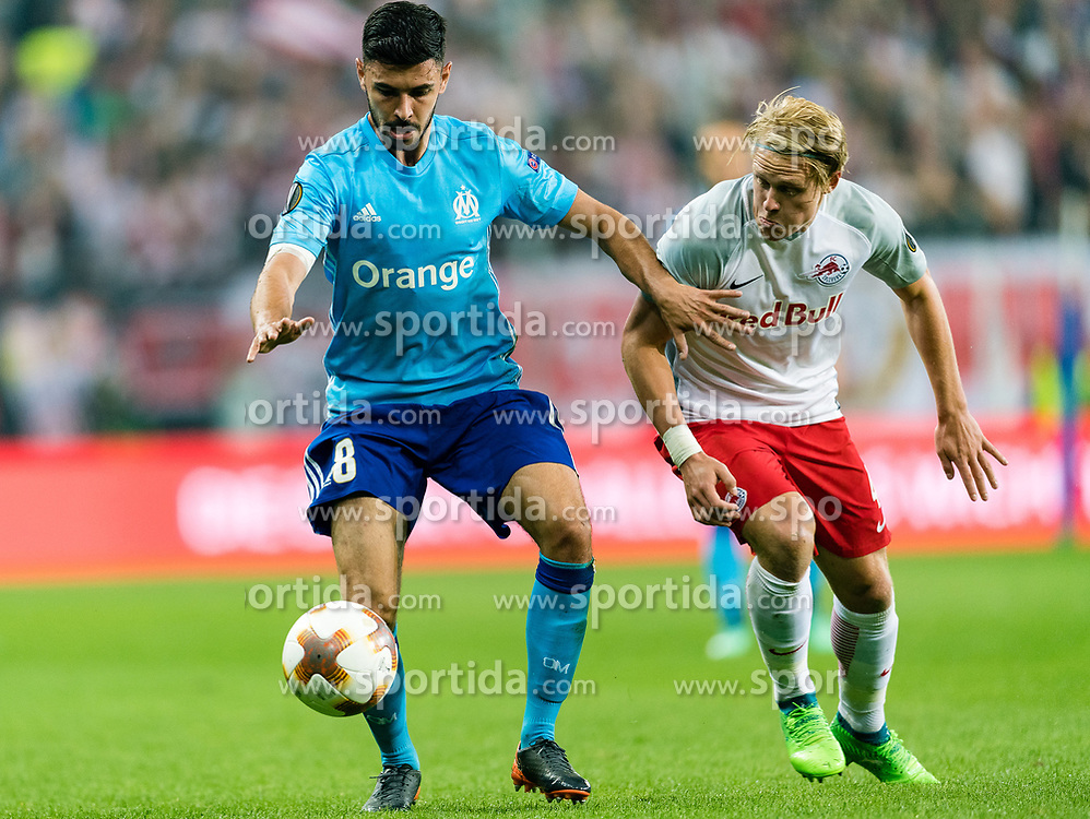 03.05.2018, Red Bull Arena, Salzburg, AUT, UEFA EL, FC Salzburg vs Olympique Marseille, Halbfinale, Rueckspiel, im Bild v.l. Morgan Sanson (Olympique Marseille), Xaver Schlager (FC Salzburg) // during the UEFA Europa League Semifinal, 2nd Leg Match between FC Salzburg and Olympique Marseille at the Red Bull Arena in Salzburg, Austria on 2018/05/03. EXPA Pictures © 2018, PhotoCredit: EXPA/ Stefan Adelsberger