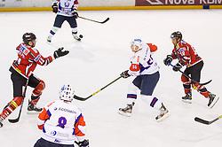 Phillippe Lakos of Austria vs ROBERT SABOLIC of Slovenia during Friendly Ice-hockey match between National teams of Slovenia and Austria on April 19, 2013 in Ice Arena Tabor, Maribor, Slovenia. (Photo By Vid Ponikvar / Sportida)