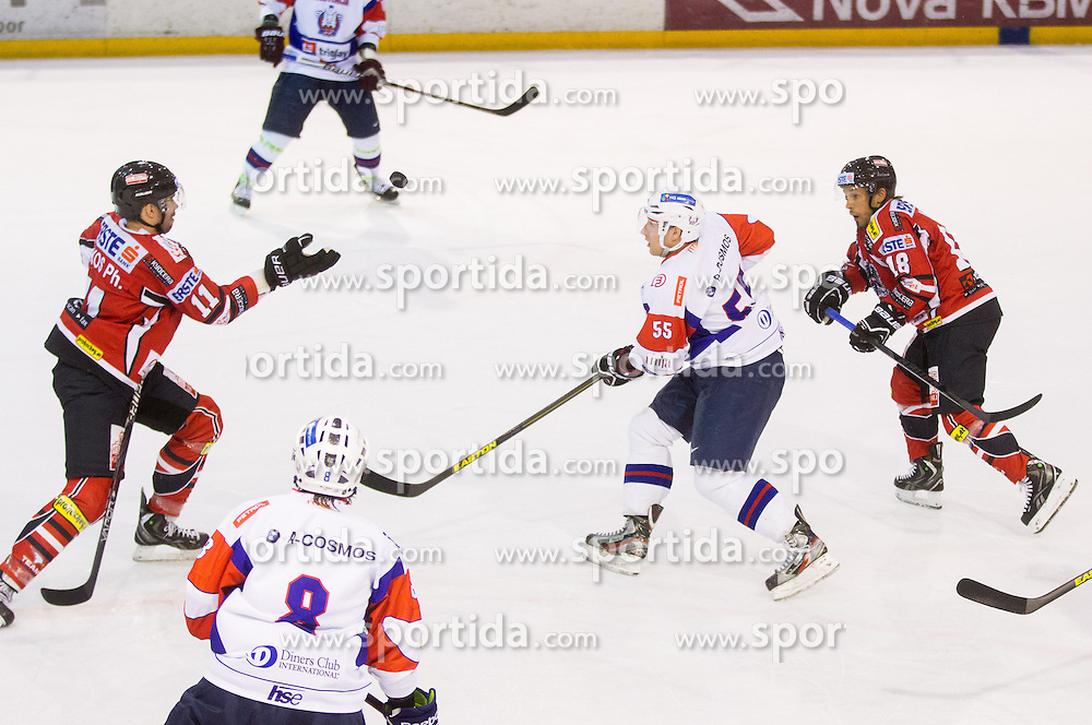 Phillippe Lakos of Austria vs ROBERT SABOLIC of Slovenia during Friendly Ice-hockey match between National teams of Slovenia and Austria on April 19, 2013 in Ice Arena Tabor, Maribor, Slovenia. (Photo By Vid Ponikvar / Sportida)