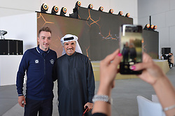 February 23, 2019 - Abu Dhabi, United Arab Emirates - Elia Viviani of Italy and Team Deceuninck-QuickStep, posses for a picture with H.E. Saeed Hareb, Secretary General of Dubai Sports Council (DSC), inside the Louvre Abu Dhabi museum..On Saturday, February 23, 2019, Abu Dhabi, United Arab Emirates. (Credit Image: © Artur Widak/NurPhoto via ZUMA Press)