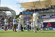 Keaton Jennings and Alastair Cook of England wal out to bat during the first day of the 4th SpecSavers International Test Match 2018 match between England and India at the Ageas Bowl, Southampton, United Kingdom on 30 August 2018.