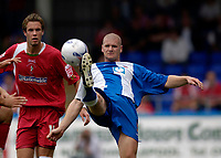 Photo: Jed Wee.<br />Hartlepool United v Swindon Town. Coca Cola League 2.<br />05/08/2006.<br /><br />Hartlepool's Michael Nelson (R) clears his lines.