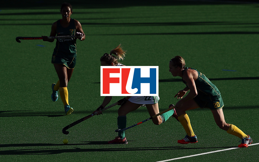 JOHANNESBURG, SOUTH AFRICA - JULY 20:  Nicola Daly of Ireland controls the ball from Nicolene Terblanche of South Africa during the 5th/ 8th place play-off match between South Africa and Ireland at Wits University on July 20, 2017 in Johannesburg, South Africa.  (Photo by Jan Kruger/Getty Images for FIH)