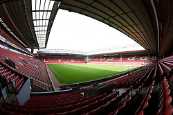 The view of the Anfield pitch from the Anfield Road Lower Stand, centre of Block 127.
