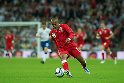LONDON, ENGLAND - Tuesday, September 6, 2011: Wales' Robert Earnshaw in action against England during the UEFA Euro 2012 Qualifying Group G match at Wembley Stadium. (Pic by Gareth Davies/Propaganda)