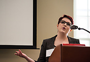 Ms. Trista Thurston presents a powerpoint about where she was on Nov, 8th 2016, during the 2018 Baker Peace Conference forum, The Populism, The Press, and The Election of 2016.