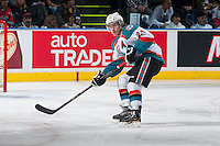 KELOWNA, CANADA - APRIL 18: Tyson Baillie #24 of the Kelowna Rockets looks for the pass against the Portland Winterhawks on April 18, 2014 during Game 1 of the third round of WHL Playoffs at Prospera Place in Kelowna, British Columbia, Canada.   (Photo by Marissa Baecker/Shoot the Breeze)  *** Local Caption *** Tyson Baillie;