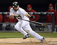 CHICAGO - APRIL 19:  Adam Eaton #1 of the Chicago White Sox bunts against the Los Angeles Angels on April 19, 2016 at U.S. Cellular Field in Chicago, Illinois.  The White Sox defeated the Angels 5-0.  (Photo by Ron Vesely)   Subject: Adam Eaton