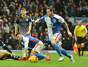 Blackburn Rovers Midfielder, Danny Guthrie with his first touch of the ball since soming on as a subsititute during the Sky Bet Championship match between Blackburn Rovers and Sheffield Wednesday at Ewood Park, Blackburn, England on 28 November 2015. Photo by Mark Pollitt.