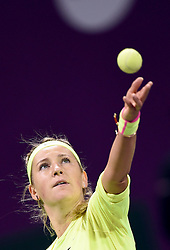 Victoria Azarenka of Belarus serves during the first round match against Angelique Kerber of Germany in the WTA Qatar Open tennis tournament in Doha, Qatar, Feb. 23, 2015. Victoria Azarenka won 2-0. EXPA Pictures © 2015, PhotoCredit: EXPA/ Photoshot/ Chen Shaojin<br /> <br /> *****ATTENTION - for AUT, SLO, CRO, SRB, BIH, MAZ only*****