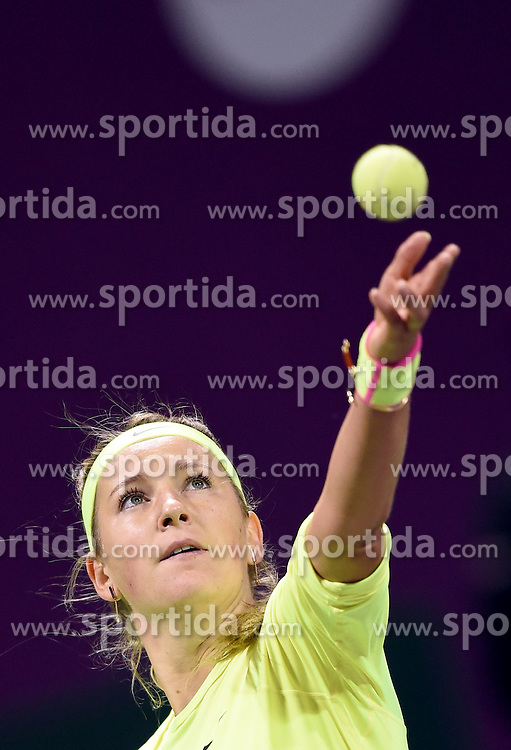 Victoria Azarenka of Belarus serves during the first round match against Angelique Kerber of Germany in the WTA Qatar Open tennis tournament in Doha, Qatar, Feb. 23, 2015. Victoria Azarenka won 2-0. EXPA Pictures &copy; 2015, PhotoCredit: EXPA/ Photoshot/ Chen Shaojin<br /> <br /> *****ATTENTION - for AUT, SLO, CRO, SRB, BIH, MAZ only*****